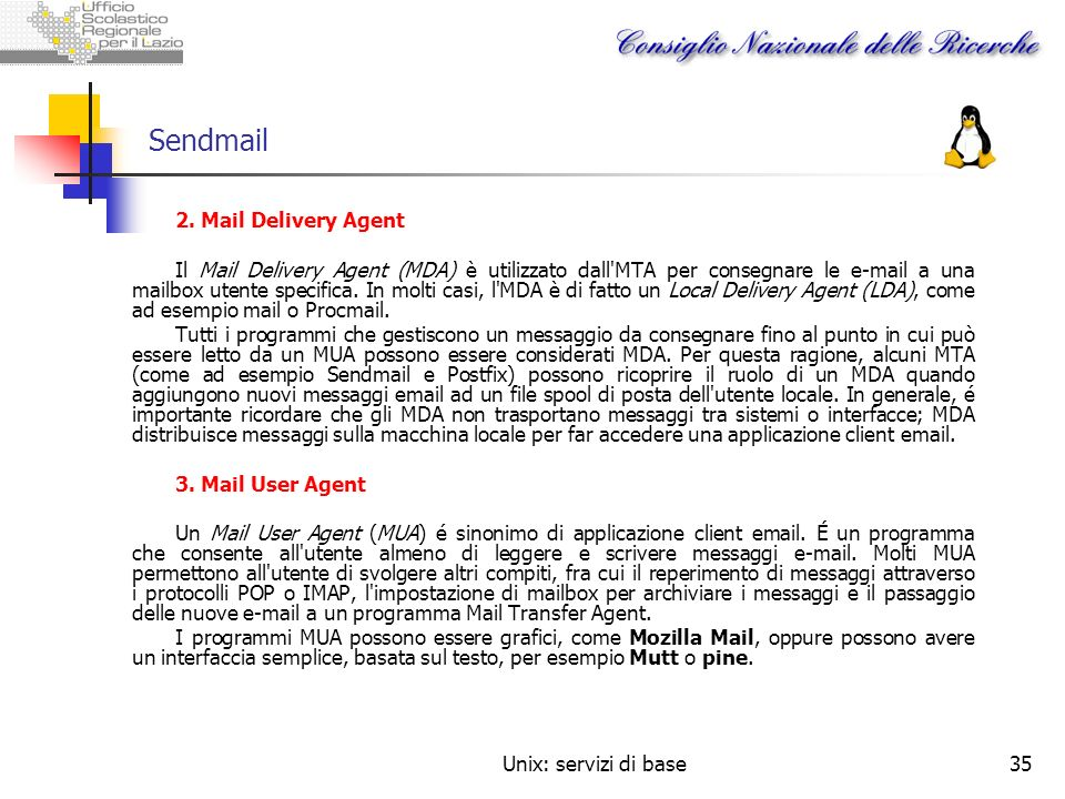Sendmail 2. Mail Delivery Agent
