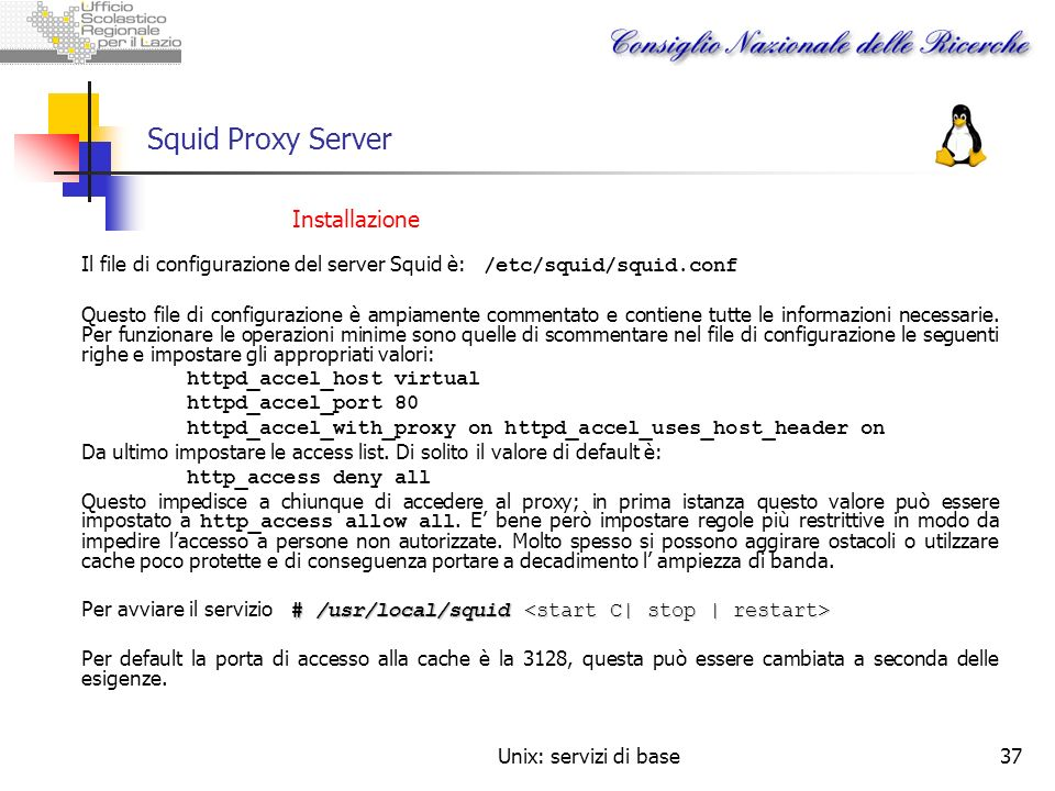 Squid Proxy Server Installazione