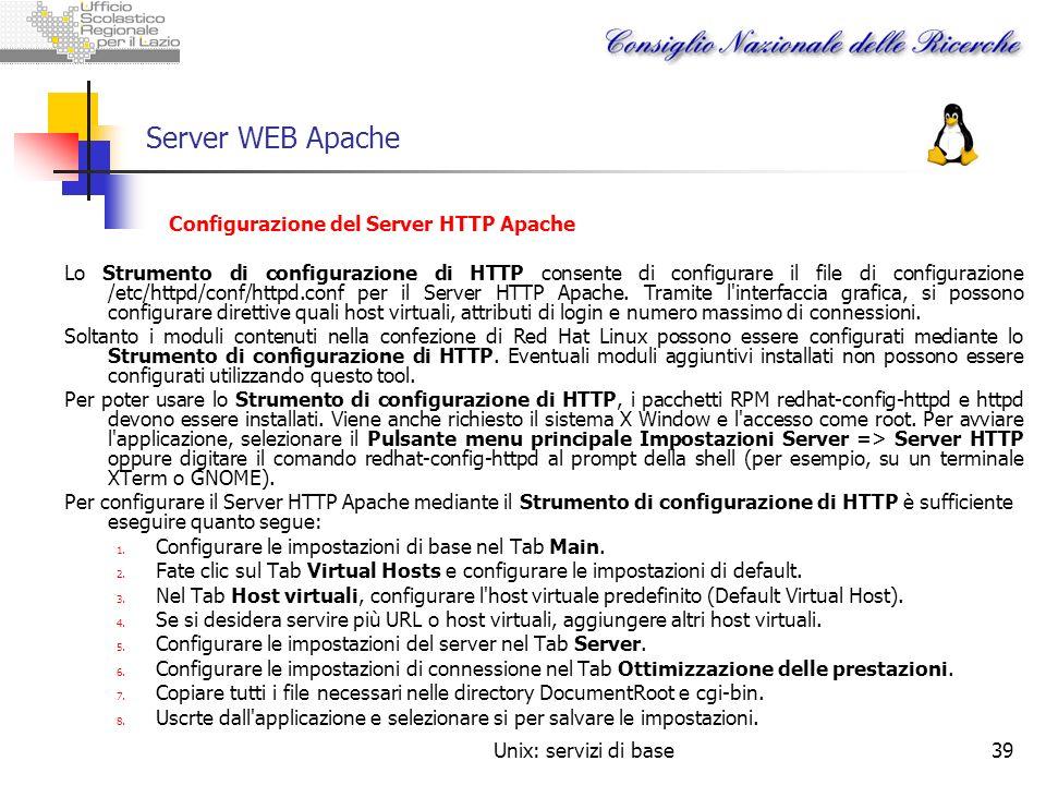 Server WEB Apache Configurazione del Server HTTP Apache