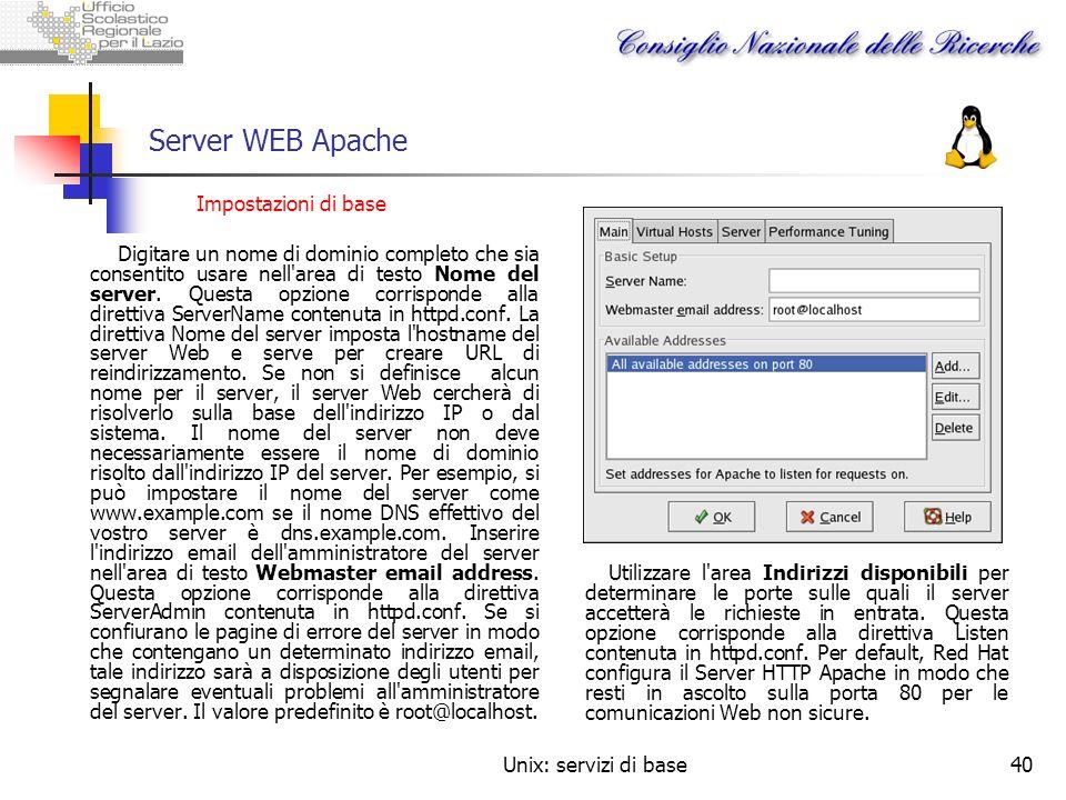 Server WEB Apache Impostazioni di base