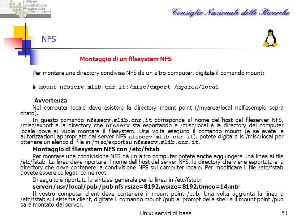 NFS Montaggio di un filesystem NFS