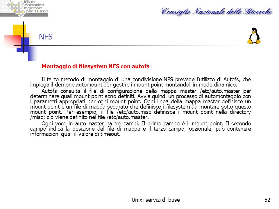 NFS Montaggio di filesystem NFS con autofs