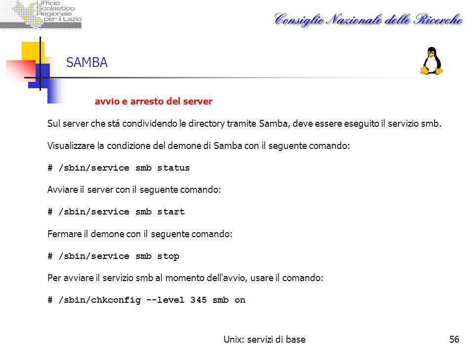 SAMBA avvio e arresto del server