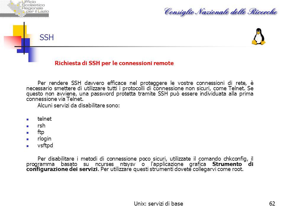 SSH Richiesta di SSH per le connessioni remote