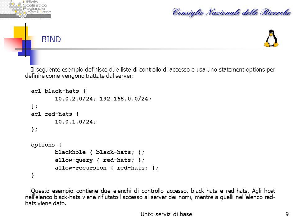 BIND Il seguente esempio definisce due liste di controllo di accesso e usa uno statement options per definire come vengono trattate dal server: