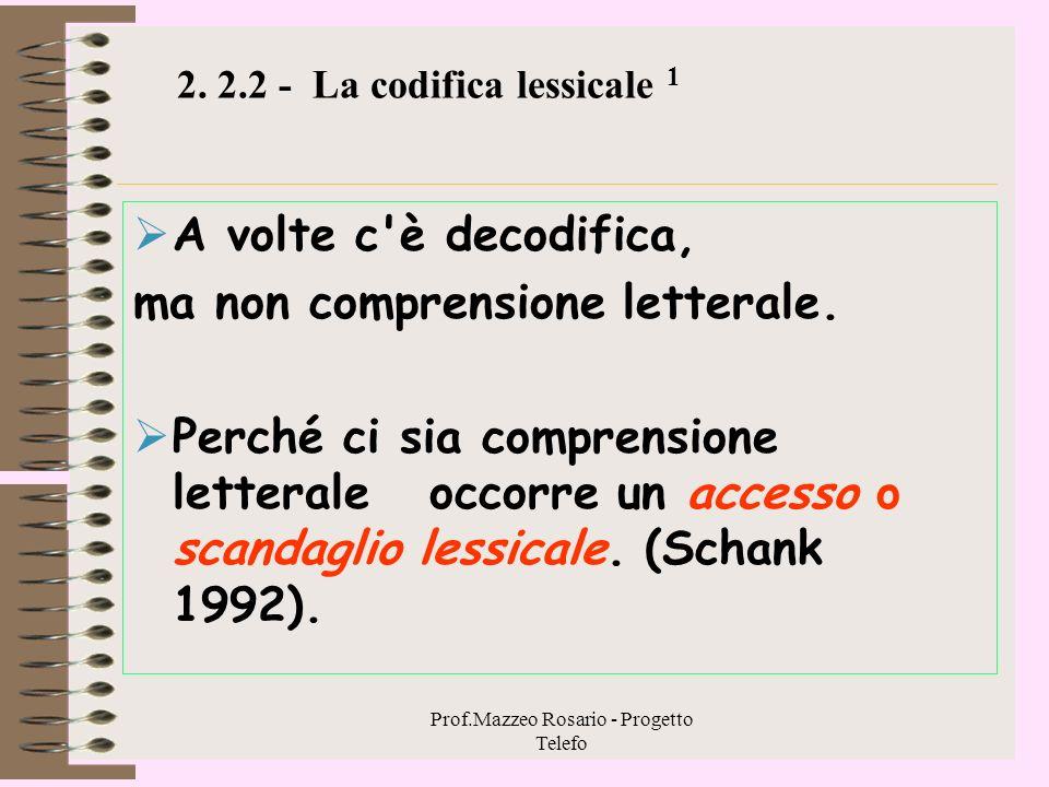 2. 2.2 - La codifica lessicale 1