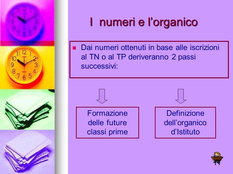 I numeri e l'organico Dai numeri ottenuti in base alle iscrizioni al TN o al TP deriveranno 2 passi successivi: