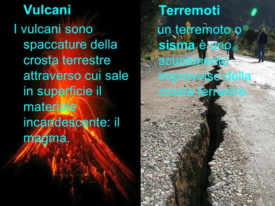 Vulcani I vulcani sono spaccature della crosta terrestre attraverso cui sale in superficie il materiale incandescente: il magma.