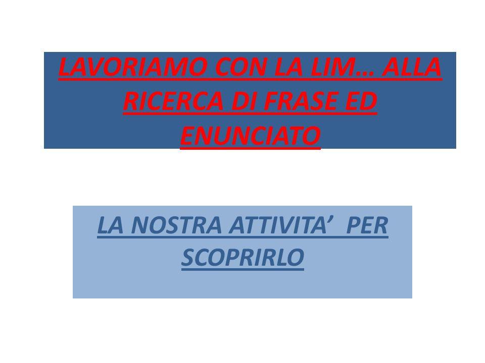 LAVORIAMO CON LA LIM… ALLA RICERCA DI FRASE ED ENUNCIATO