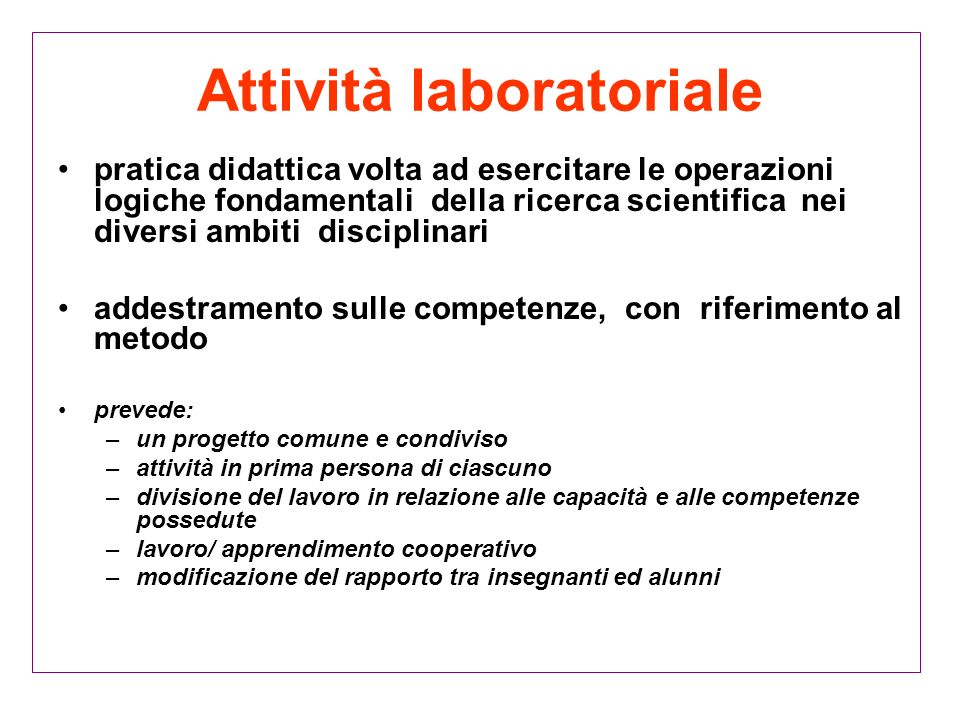 Attività laboratoriale