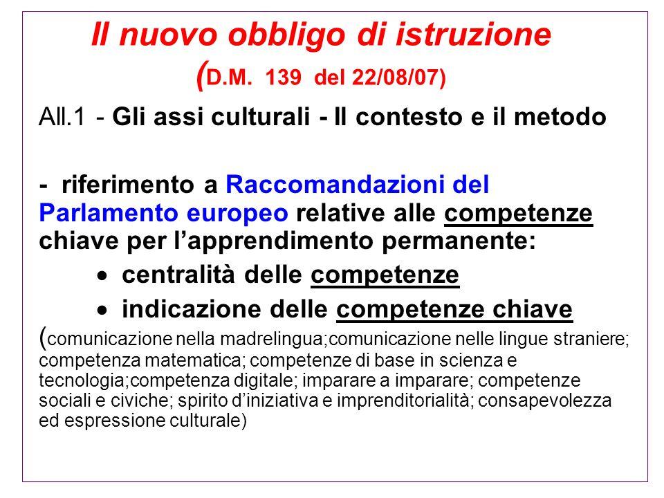 Il nuovo obbligo di istruzione (D.M. 139 del 22/08/07)