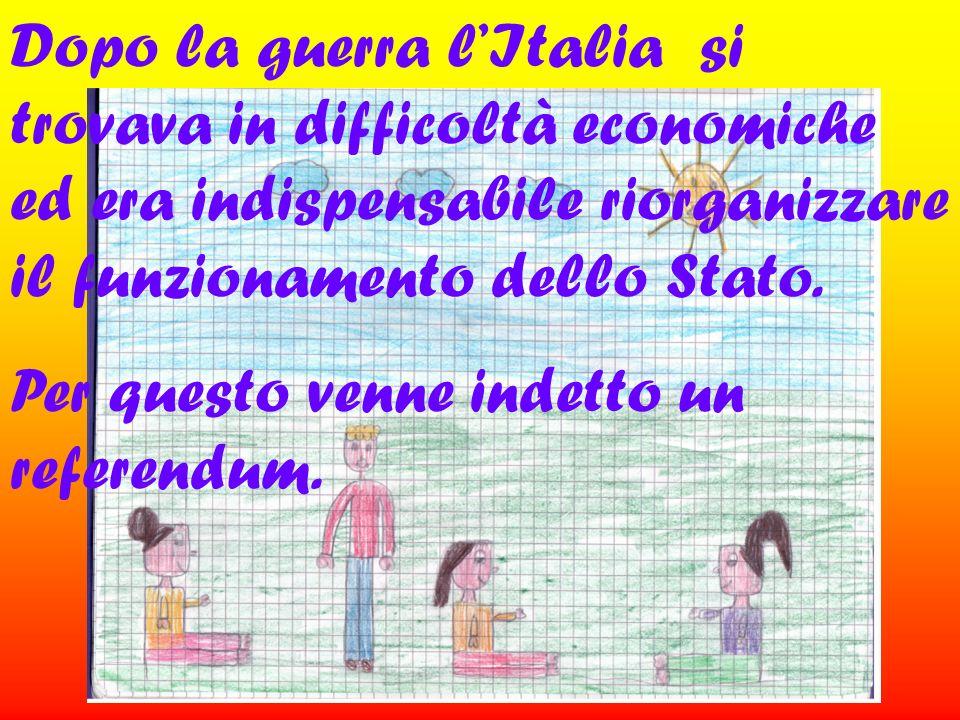 Dopo la guerra l'Italia si trovava in difficoltà economiche ed era indispensabile riorganizzare il funzionamento dello Stato.