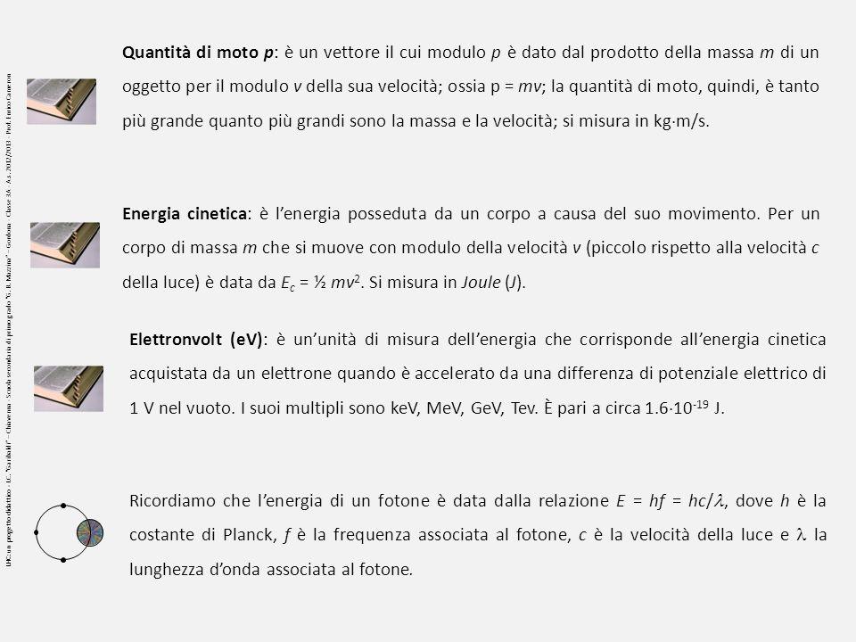 Quantità di moto p: è un vettore il cui modulo p è dato dal prodotto della massa m di un oggetto per il modulo v della sua velocità; ossia p = mv; la quantità di moto, quindi, è tanto più grande quanto più grandi sono la massa e la velocità; si misura in kgm/s.