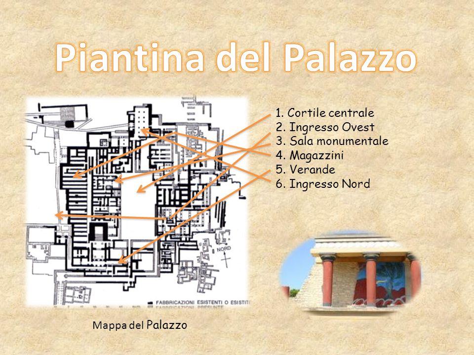 Piantina del Palazzo 1. Cortile centrale 2. Ingresso Ovest