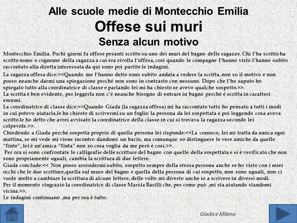 Alle scuole medie di Montecchio Emilia