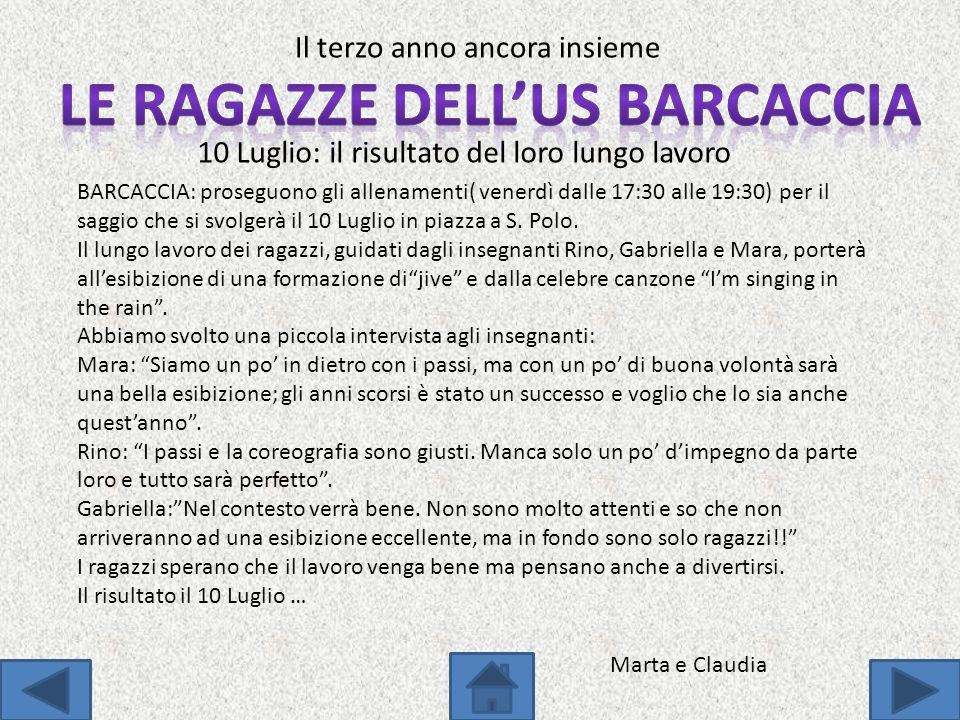 LE RAGAZZE DELL'US BARCACCIA