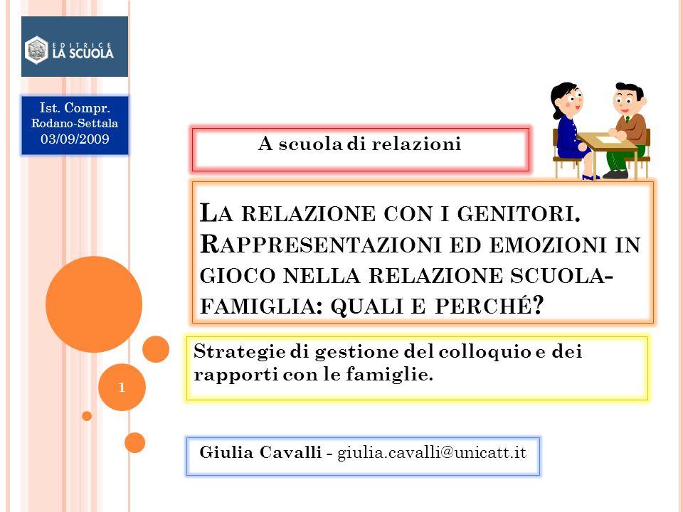 Strategie di gestione del colloquio e dei rapporti con le famiglie.