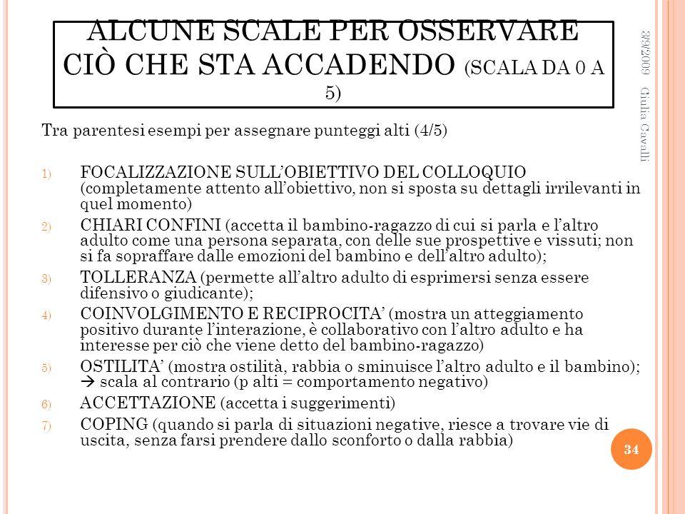 ALCUNE SCALE PER OSSERVARE CIÒ CHE STA ACCADENDO (SCALA DA 0 A 5)