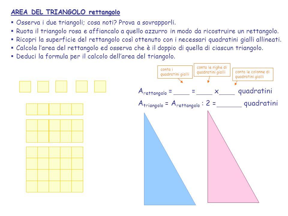 Arettangolo = = x quadratini Atriangolo = Arettangolo : 2 = quadratini