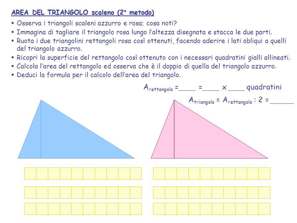 Arettangolo = = x quadratini Atriangolo = Arettangolo : 2 =