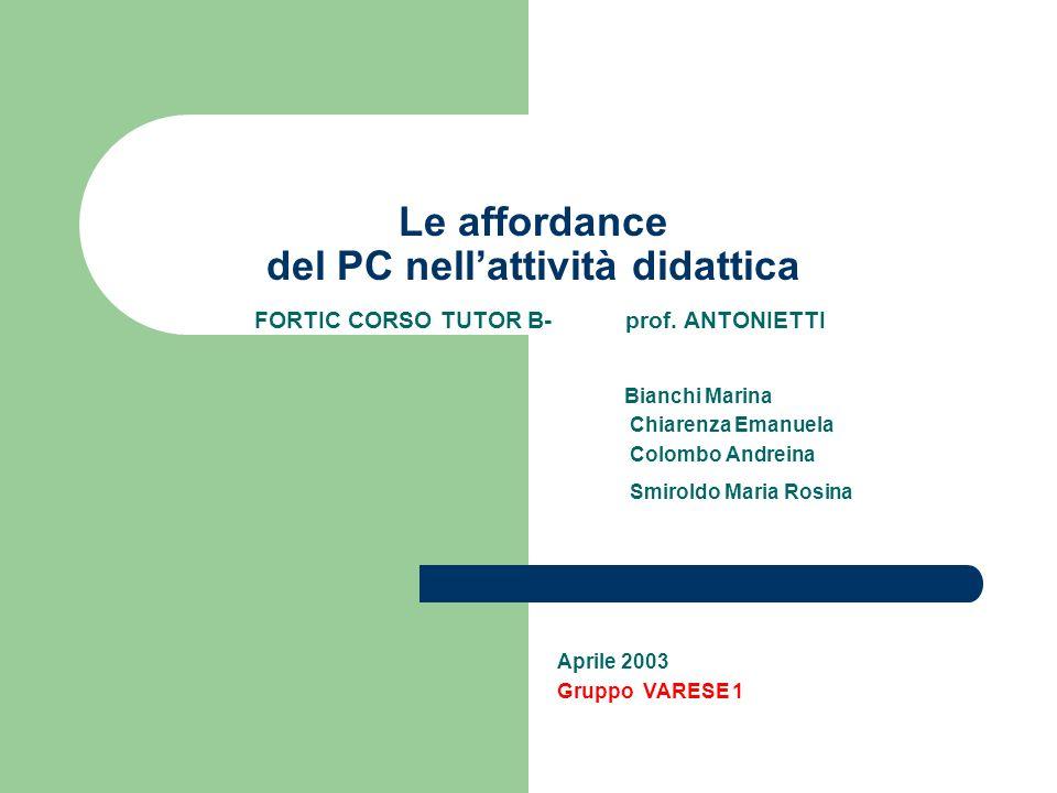 Le affordance del PC nell'attività didattica