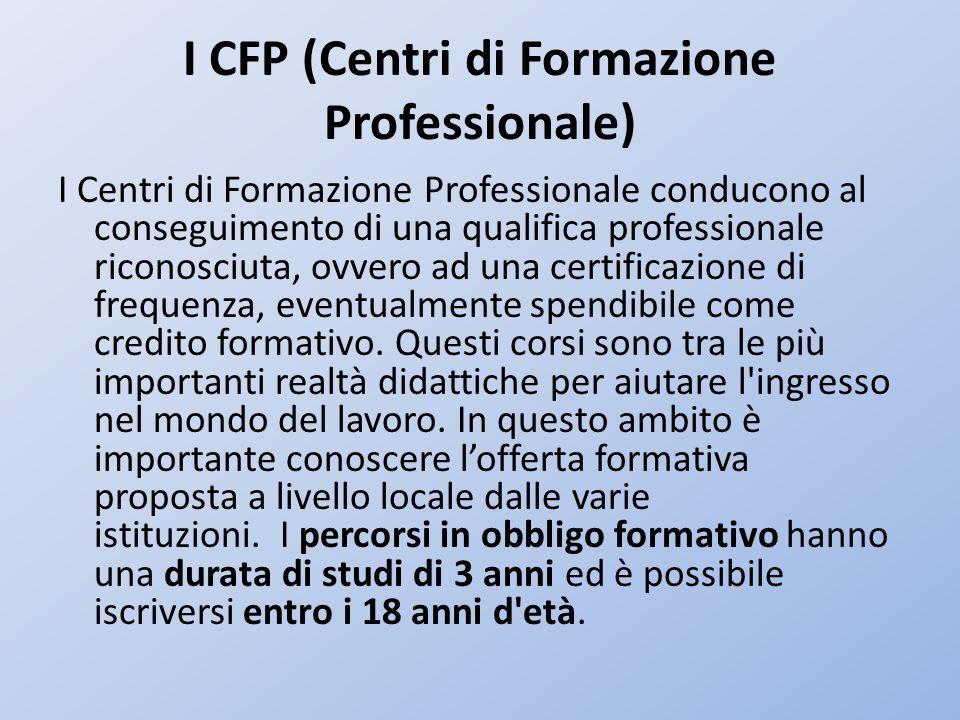 I CFP (Centri di Formazione Professionale)