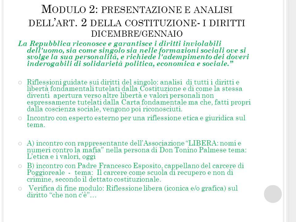 Modulo 2: presentazione e analisi dell'art