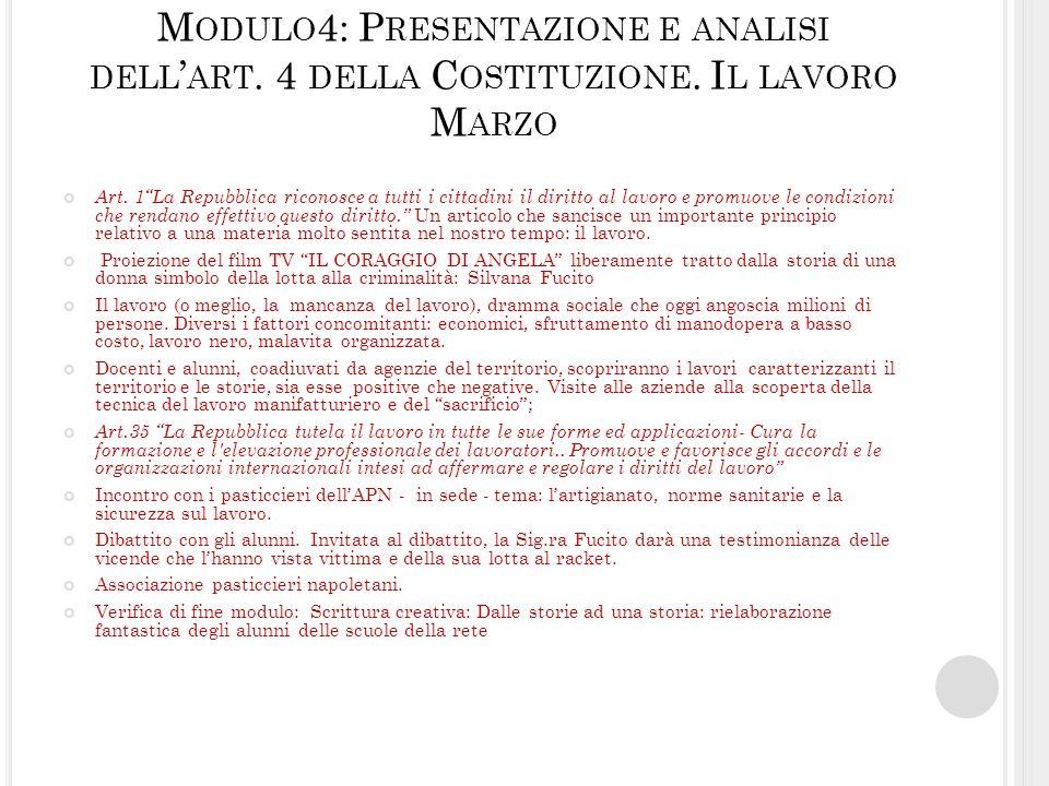 Modulo4: Presentazione e analisi dell'art. 4 della Costituzione