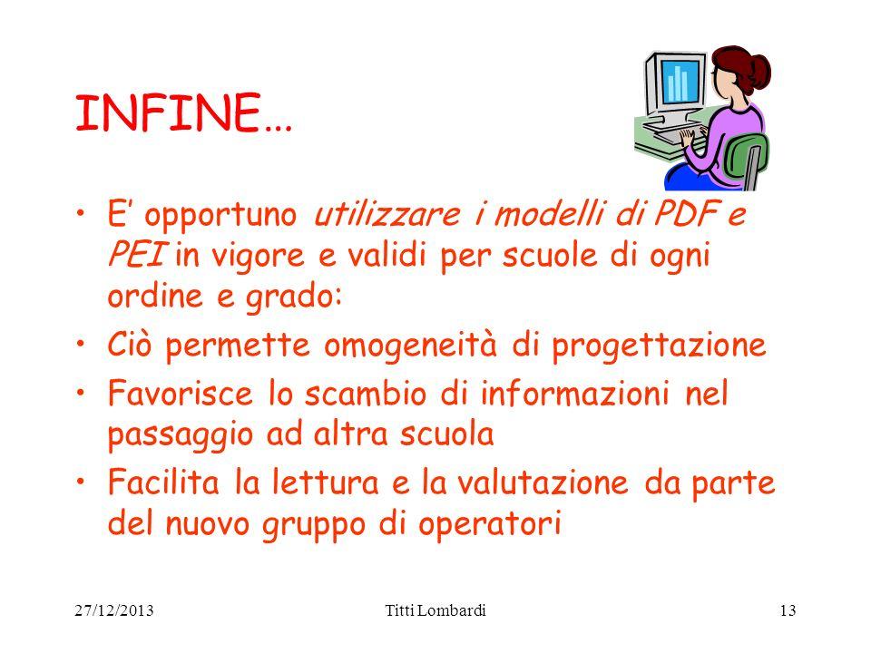 INFINE… E' opportuno utilizzare i modelli di PDF e PEI in vigore e validi per scuole di ogni ordine e grado: