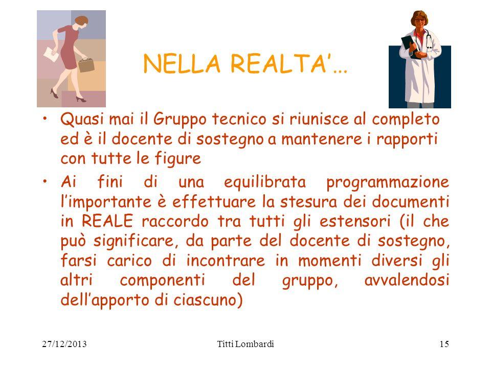 NELLA REALTA'…Quasi mai il Gruppo tecnico si riunisce al completo ed è il docente di sostegno a mantenere i rapporti con tutte le figure.
