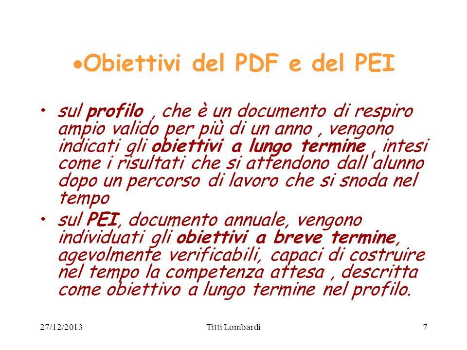 Obiettivi del PDF e del PEI