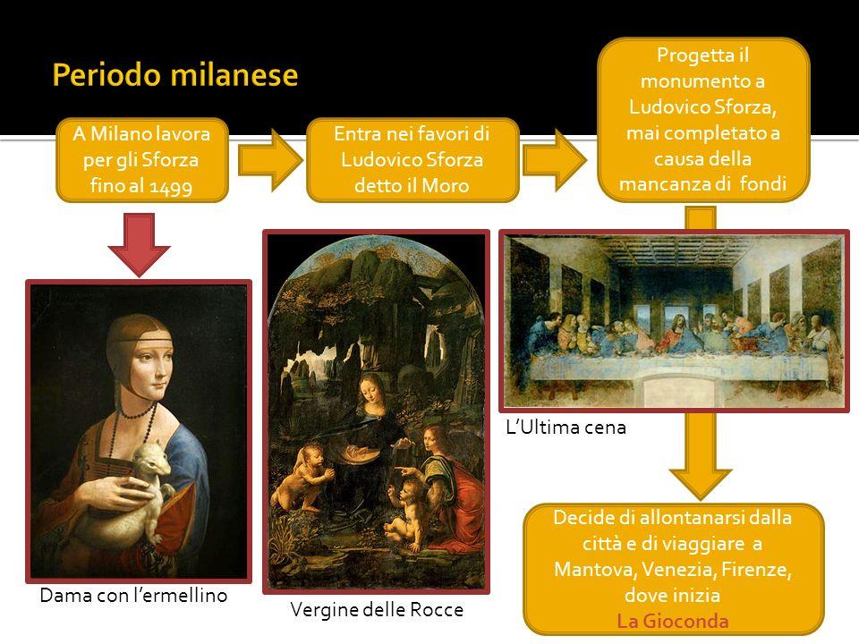 Periodo milanese Progetta il monumento a Ludovico Sforza, mai completato a causa della mancanza di fondi.
