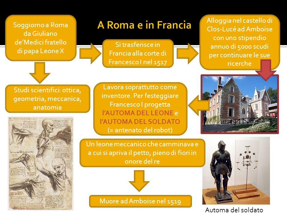 A Roma e in Francia Soggiorno a Roma da Giuliano de'Medici fratello di papa Leone X.