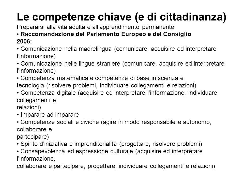 Le competenze chiave (e di cittadinanza)