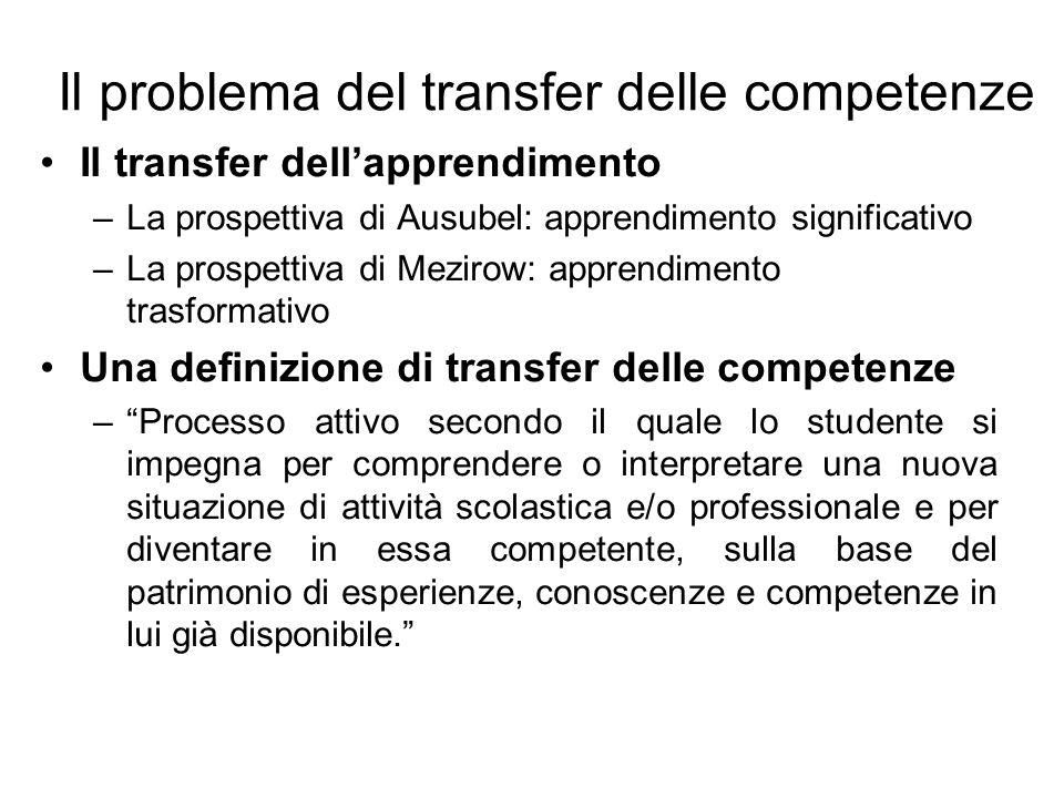 Il problema del transfer delle competenze