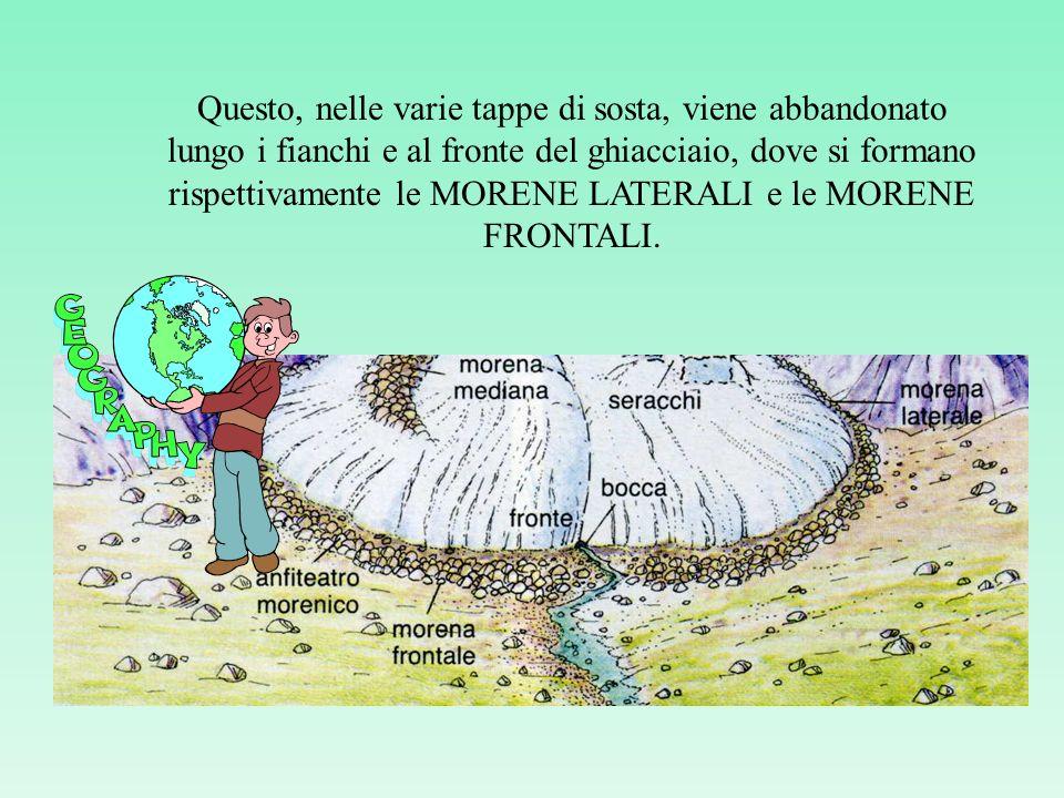 Questo, nelle varie tappe di sosta, viene abbandonato lungo i fianchi e al fronte del ghiacciaio, dove si formano rispettivamente le MORENE LATERALI e le MORENE FRONTALI.