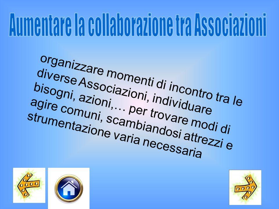 Aumentare la collaborazione tra Associazioni