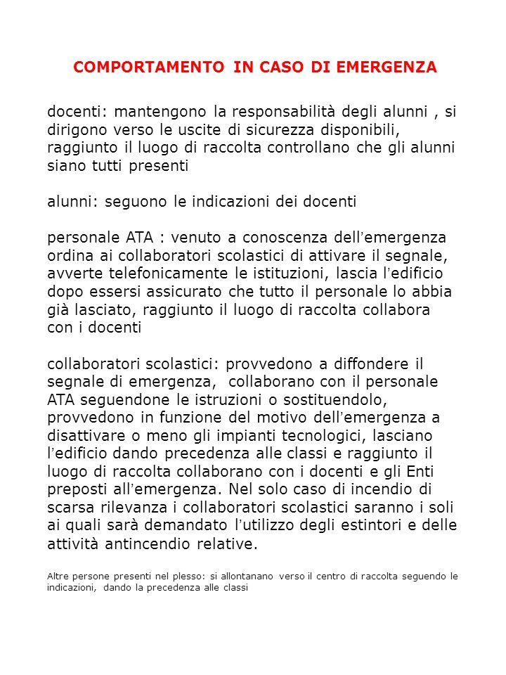 COMPORTAMENTO IN CASO DI EMERGENZA