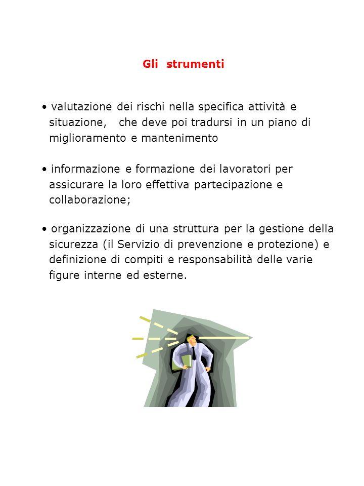 Gli strumenti valutazione dei rischi nella specifica attività e. situazione, che deve poi tradursi in un piano di.