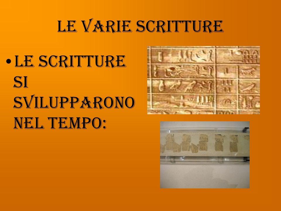 Le varie scritture Le scritture si svilupparono nel tempo: