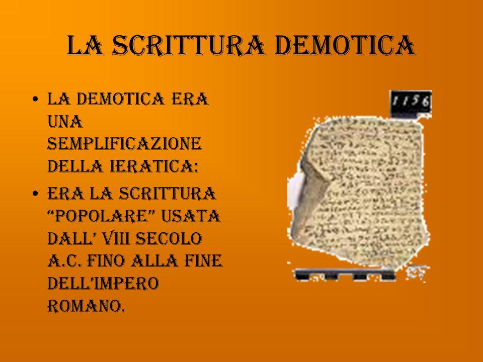 La scrittura demotica La demotica era una semplificazione della ieratica: