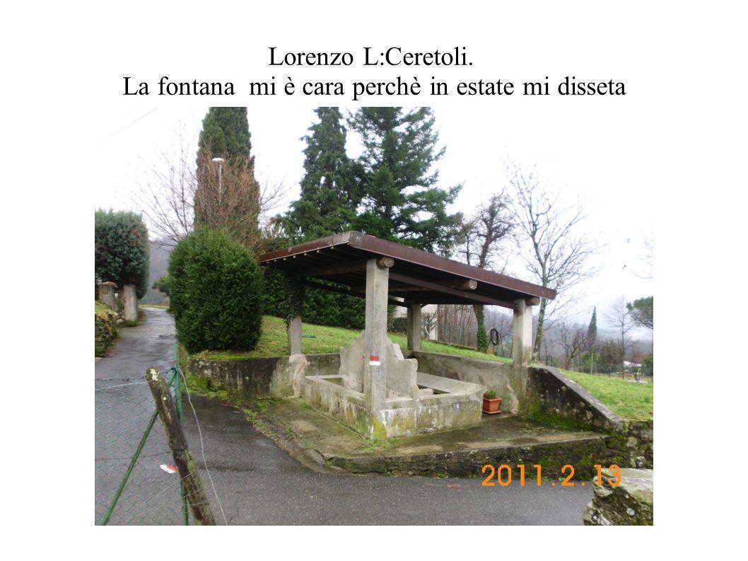 Lorenzo L:Ceretoli. La fontana mi è cara perchè in estate mi disseta
