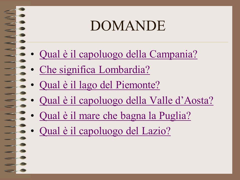 DOMANDE Qual è il capoluogo della Campania Che significa Lombardia