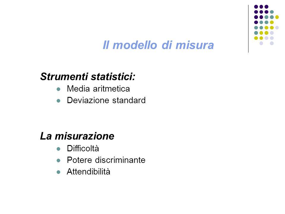 Il modello di misura Strumenti statistici: La misurazione