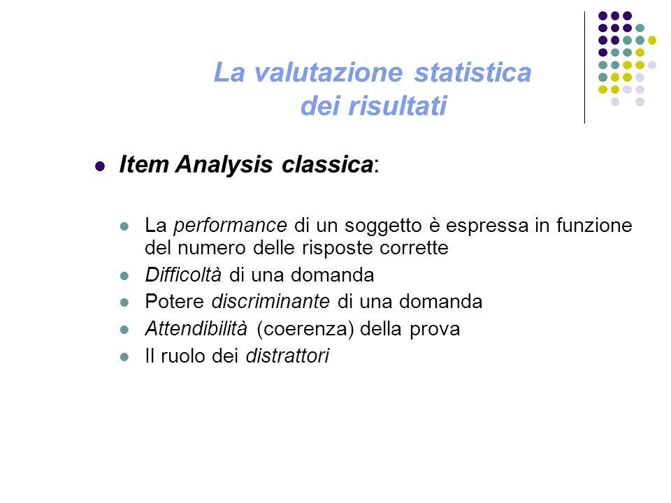 La valutazione statistica dei risultati