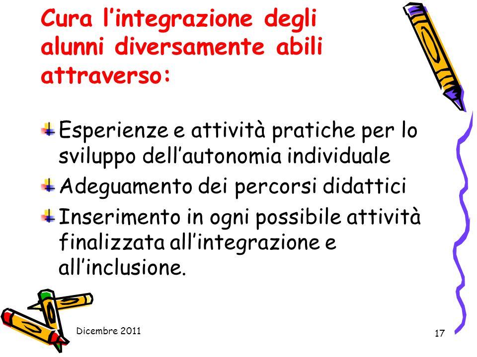 Cura l'integrazione degli alunni diversamente abili attraverso: