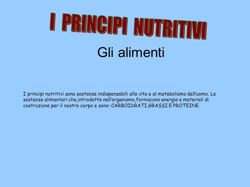 Gli alimenti I PRINCIPI NUTRITIVI