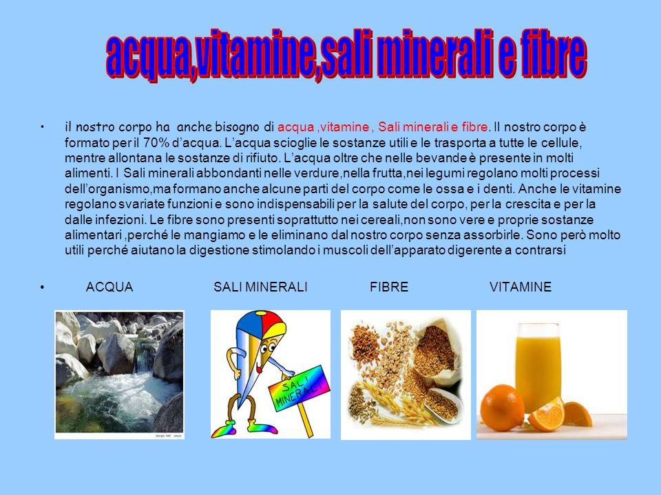 acqua,vitamine,sali minerali e fibre