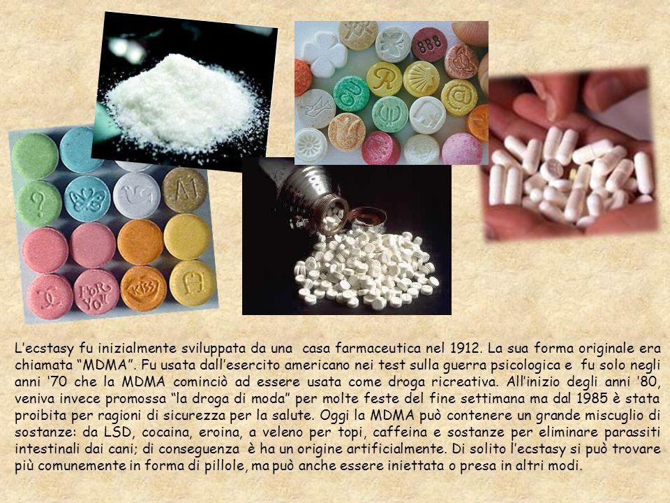 L'ecstasy fu inizialmente sviluppata da una casa farmaceutica nel 1912