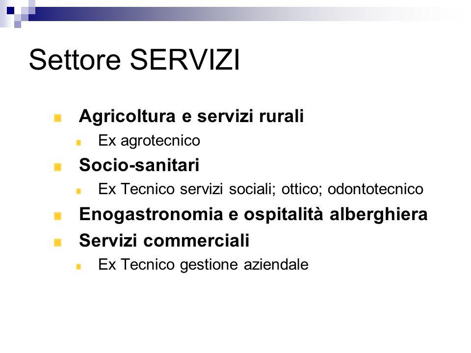 Settore SERVIZI Agricoltura e servizi rurali Socio-sanitari